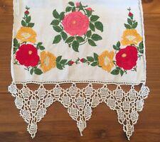 Society Silk Table Runner Flax Linen Crochet Stitch Hemstitched Open Work