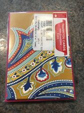 "Set of 6 Paisley Multicolor Note Cards GIft Cards with Envelopes 4.5"" x 3"""