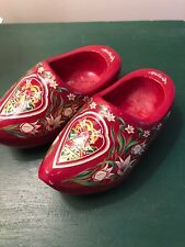 Vintage Wooden Shoes Holland Red with Flowers Windmills 6�