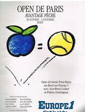 Publicité Advertising 1990 Radio Europe 1 Open de Paris Tennis