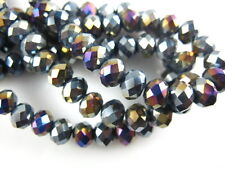 200Pcs Loose Black AB Crystal Glass Faceted Rondelle Bead 4mm Spacer Crafts