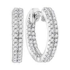 10k White Gold Womens Round Diamond Hoop Fashion Earrings 0.20CT