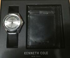 Men's Kenneth Cole Black Leather Strap Watch & Wallet Set 10031396 11