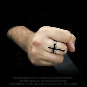 Alchemy Gothic In Memorium Ring Pewter Mens Unisex Victorian Cross Enamel Size N