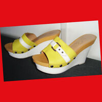 Marc Fisher Leather Mule Wedge Sandals Two-Tone White/Yellow Size 8 M