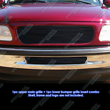 Fits 97-98 Ford F-150 2WD Black Billet Grille Grill Upper+Lower Combo Insert