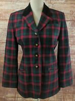 Pendleton Wool Blazer Jacket 6 Petite Christmas Buffalo Plaid Check Red Green