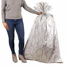 """Hallmark Plastic Gift Bag for Engagement Parties, Sliver Damask, 56"""" Large"""