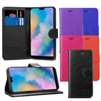 For Huawei P20  - Premium Leather Wallet Flip Case Pouch Cover + Screen Guard
