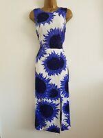 NEW WAREHOUSE 6-18 Blue White Sunflower Floral Print Knot Back Midi Sun Dress