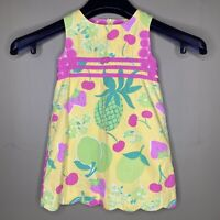Lilly Pulitzer Girls 3t Classic Shift Dress Fruit Pattern Spring Summer Lined
