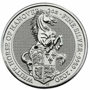 2020 Queen's Beast White Horse of Hanover 2 oz Silver Coin in Capsule