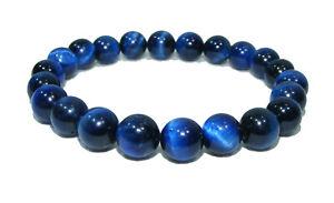 Bracelet de perles OEIL DE TIGRE BLEU Pierres naturelles 8 mm 18cm ou sur mesure
