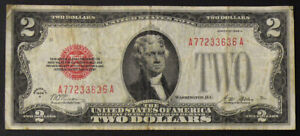 1928-A SEMI-KEY $2 Red Seal United States Note, Circulated Condition