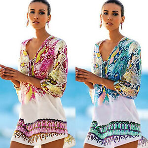 Women Boho V Neck Loose Long Sleeve Swimwear Beachwear Bikini Cover Up Kaftan