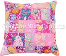 Vintage Embroidery Cushion Cover 22x22 Patchwork Decorative Square Pillow Case