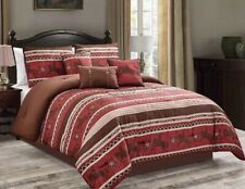 Luxury South Western Rodeo Horse Rustic Star Burgundy Comforter Set - 7 Piece