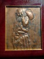 Rare grande oeuvre sur cuivre tableau Grèce pope orthodoxe signé état parfait