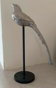 Silver Bird on Pedestal Rustic Home Ornament Figurine Sculpture Gift 30cmNew