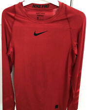 Mens Nike pro combat dri fit long sleeve compression top MEDIUM turtle neck RED