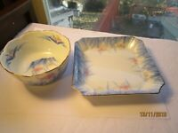 Vintage Pink & Blue Iris Flowers Candy Dish & Nut Bowl Porcelain China