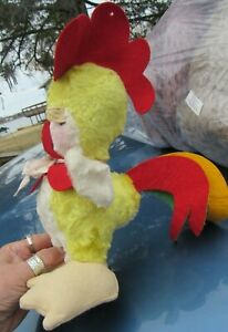 VINTAGE PLUSH CHICKEN ROOSTER TEDDY BEAR RED YELLOW TAIL FELT TOY GUND RUSHTON