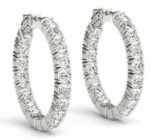 6.02 carat Round cut Diamond 14k White Gold Hoop Earring 20 x 0.30 ct 0.60 inch
