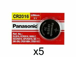 (5) Pack ~ Panasonic CR 2016 CR2016 ECR2016 ~ Lithium Coin Cell Button Battery