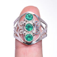 Green chalcedony Gemstone Ring Size 8.75 Sterling Silver HANDMADE Fine Jewelry