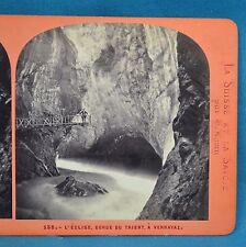 1860/70s Suisse Stereoview 138 L'Egise Gorge De Trient A Vernayez Ernest Lamy