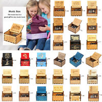 Retro Wooden Hand Cranked Music Box Kids Child Xmas Birthday Gift Home Ornaments