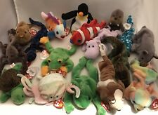 Lot Of 17 Ty Beannie Babies Excellent With Tags Fish Bears Frogs Turtle Hippo