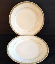 ROYAL SCHWARZBURG RAMEKIN SALAD PLATES (2) GREEN & GOLD VERGE 1904-1924 7.5 IN.