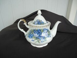 grand collection bone china blue rose teapot 6 cup moonlight rose