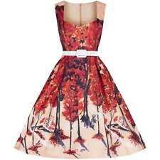 Vintage Style Cream Peach Orange Print Swing Dress Rockabilly 50's Size 10 BNWT