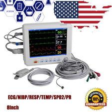 Digtal Patient Monitor 6 Parameter Icu Cardiac Vital Sign 8in Ecg Spo2 Nibp Resp