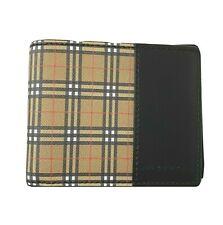 Y-1438147 New Burberry Vintage Check Black Leather Bi-fold Wallet