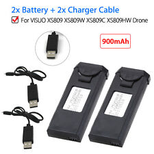 2x Duable 900mAh Rechargeable Battery +Charger Cable For VISUO XS809 XS809C FPV