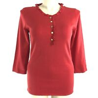 Alex Marie Large Top Knit Sweater Silk Bl Red Ruffle Trim Gold Button 3/4 Sl