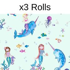 x3 Rolls Narwhals Mermaids Wallpaper Holden Teal Ocean Sea Life Girls Glitter