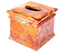 Tissue Box Cover Resort Style carved from Imported Exotic Multi Onyx