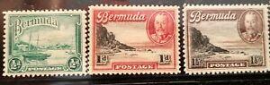 Bermuda Scott # 105-108 and 109A mint hinged 1936