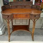 Wicker Desk with Wood Writing Surface Solid Furniture Vintage PICK UP ONLY