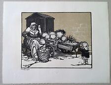 Georges BRUYER Gravure sur bois art deco scene de marché aux legumes salade chou