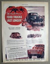 Orig 1947 Ford Truck Ad  Endorsement by Joseph J Schwartz of Rochester Michigan