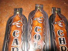 CUSTOM GENUINE LEATHER RIFLE SLING WITH YOUR NAME & FLYING DUCKS BROWN & BLACK