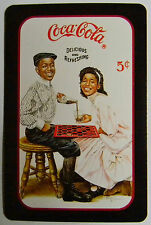 COCA COLA AD AFRICAN AMERICAN TEENS PLAYING CHECKERS MODERN SWAP  PLAYING CARD