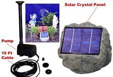 Solar Panel Rock w/ 1.2W Submersible Waterfall Pump