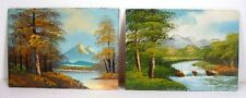 Two Paintings Mountain View Trees Water Landscapes 5x7 Oil Canvas Glued on Wood
