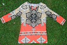 *  NEU * Shirt Nice Connection Viskose 3/4 Arme beige weiß schwarz orange S 38